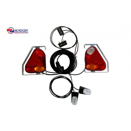 Zestaw oświetleniowy do przyczepy przyczepki podłączony lampy trójkątne w ramce ze światłem cofania 13 PIN